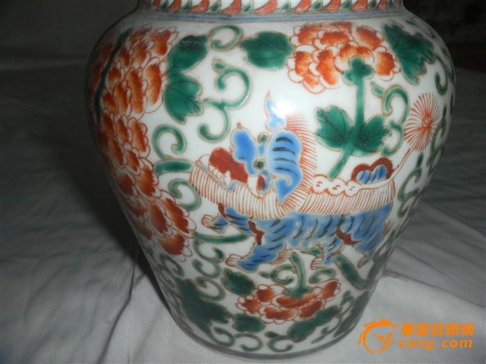 彩釉花卉瓷罐图5