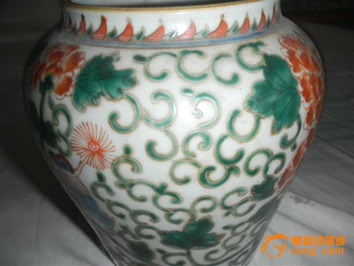 彩釉花卉瓷罐图6