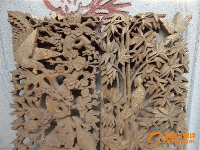 潮州木雕:樟木雕双凤戏梅花,竹林凤凰嬉戏菊花芝兰屏窗一对