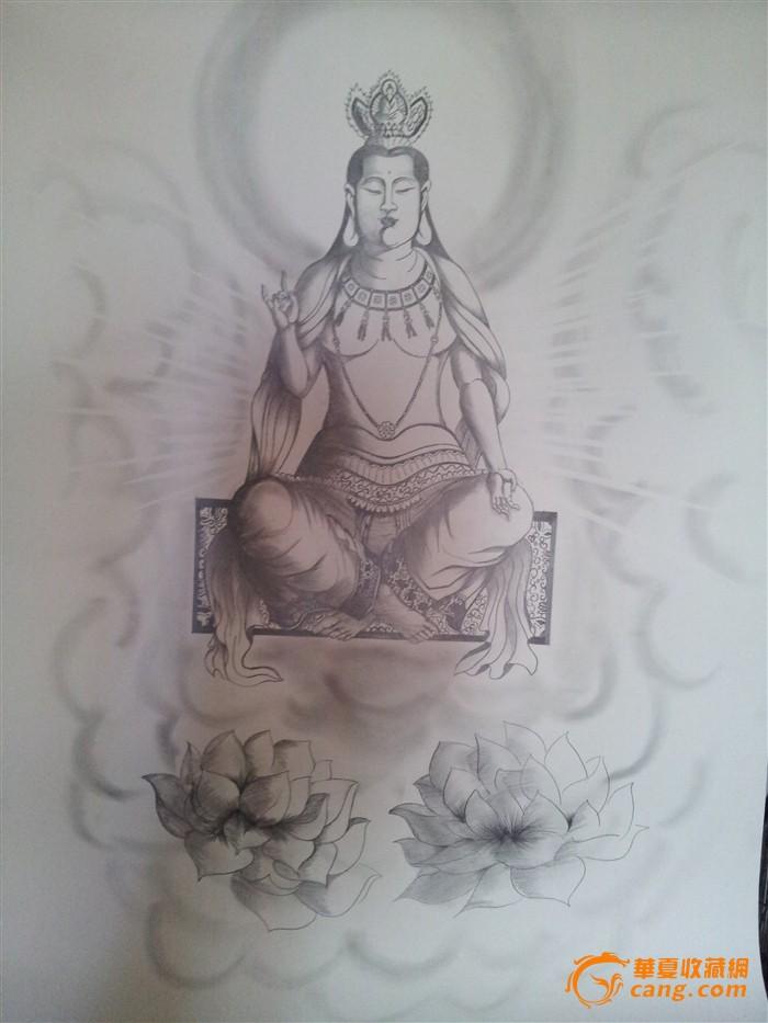 纯铅笔手绘佛像
