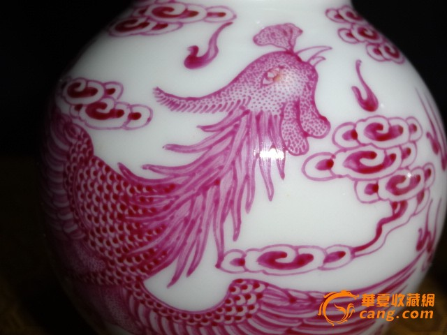 胭脂红龙凤呈祥葫芦瓶一对图3