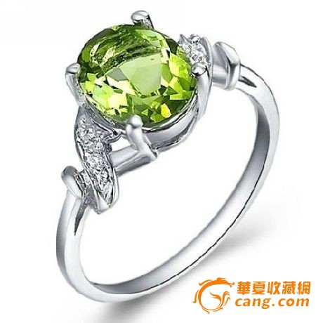 925银镀白金嵌天然橄榄石戒指带证书_925银镀