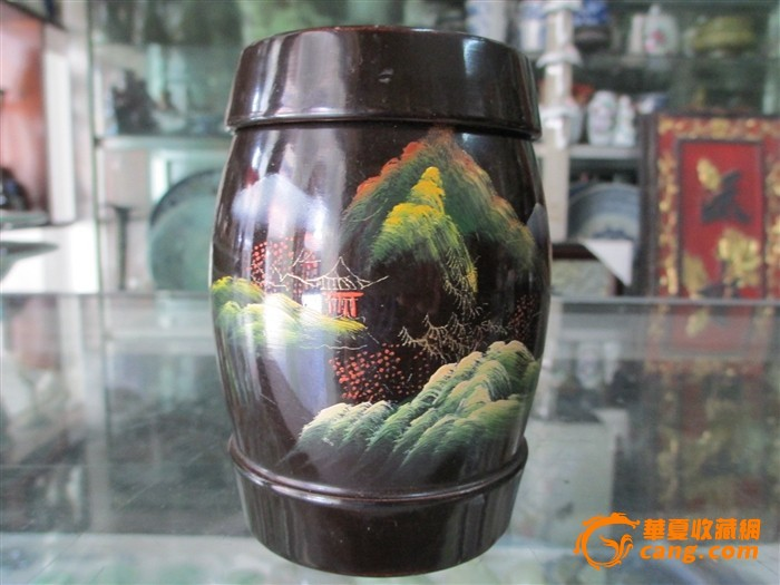 脱胎漆器茶叶罐一对图片