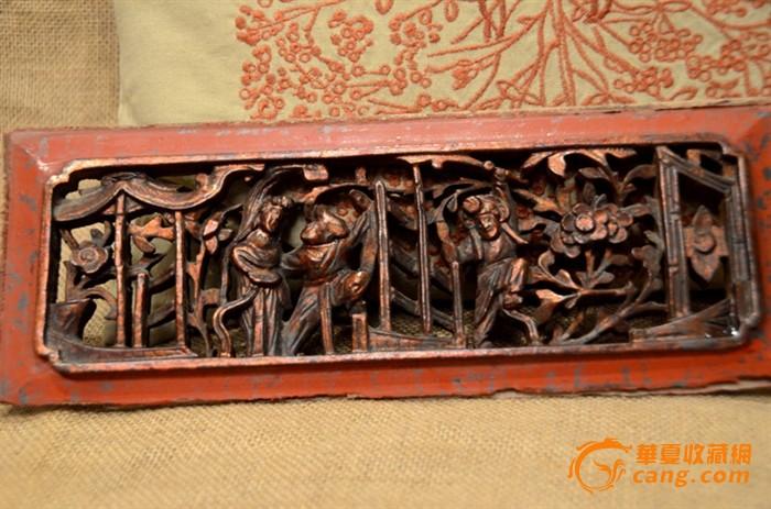 一套三片清代精雕武旦马上人物老木雕花板
