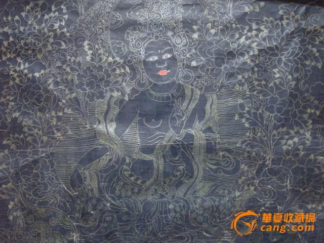 清-布制手绘唐卡-黑底描金观音