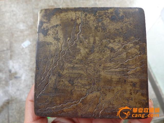 清代四方形山水人物铜墨盒
