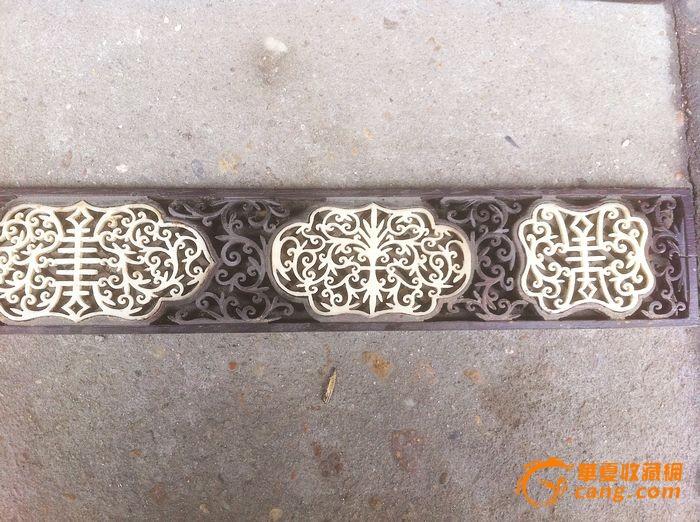 清代老红木镶象骨雕花板