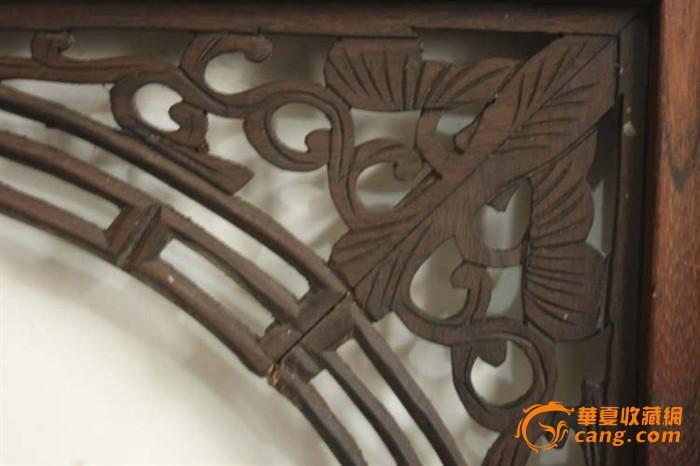 清代榉木方竿边框老红木雕卷草纹芯子大挂屏单片,50见