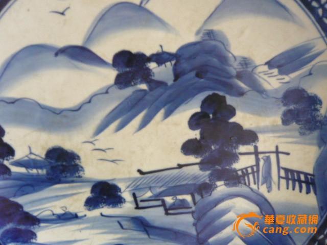 青花山水风景大盘