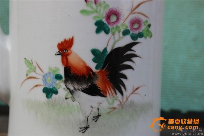80年代手绘公鸡提梁壶