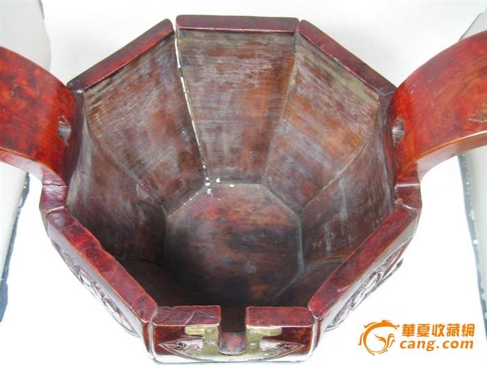 清代雕花木制茶桶