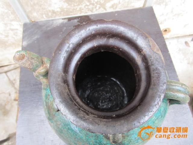 石湾窑四耳绿釉酒罐