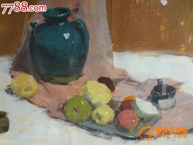 油画或纸面水粉画原作 静物,名家水果静物画一幅图2