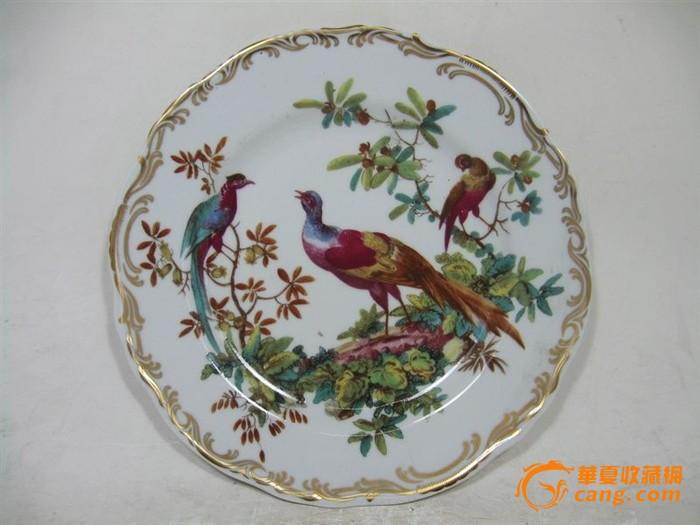 英国维多利亚时期莲花边花鸟绘画盘