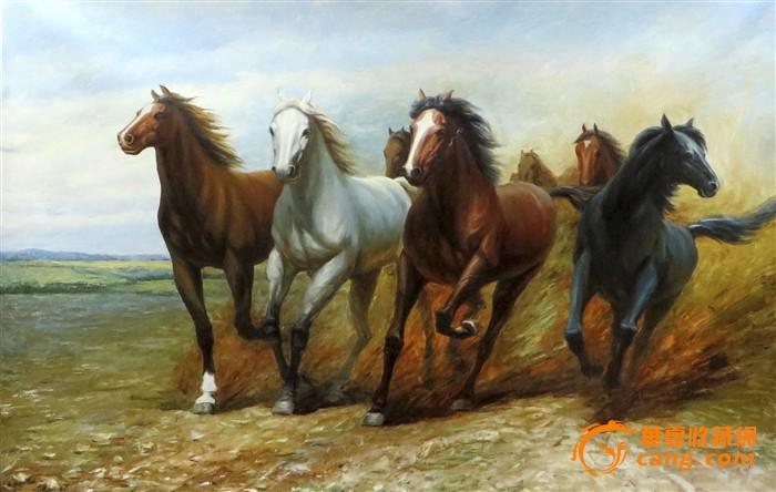 朝鲜油画骏马