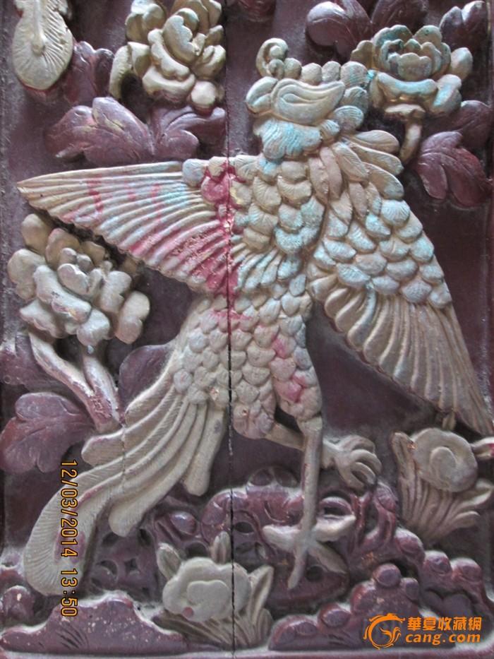 清代 老木雕 深浮雕 凤凰戏牡丹 花板