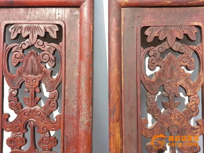 【江啸堂】藏品 古玩 清代蝙蝠年年有鱼 樟木雕花板2块 古董