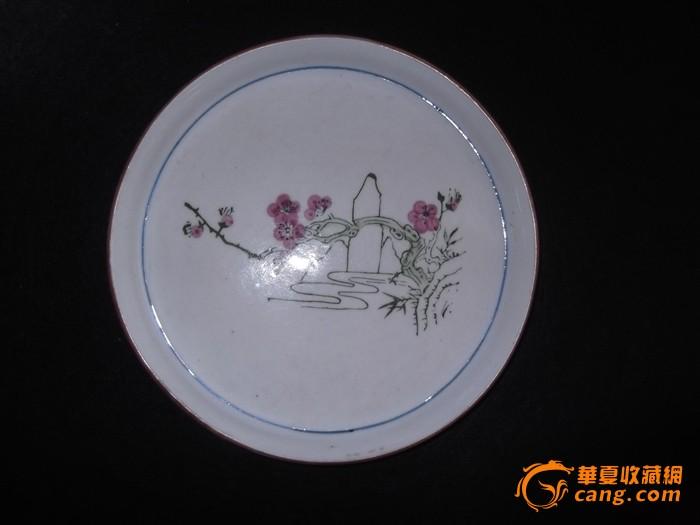 文革手绘釉下彩梅花盘
