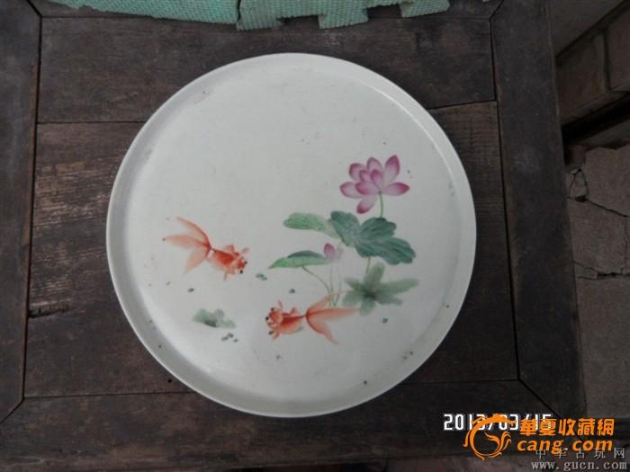 60年代前后手绘金鱼荷花茶盘