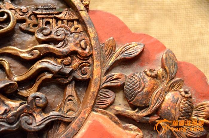 """一件清代精雕""""嫦娥奔月""""老木雕花板"""