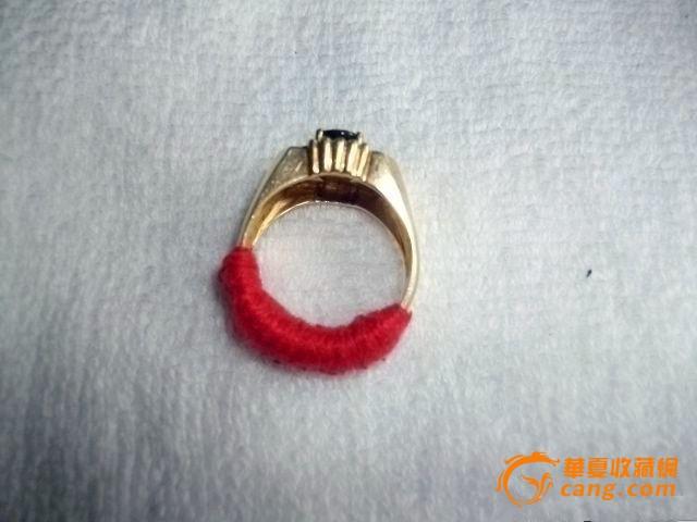 14k金镶蓝宝石-8颗砖石戒指