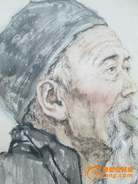 外国老人侧脸手绘