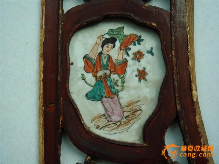民国雕花木板镶嵌粉彩美女童子纹饰瓷板图片