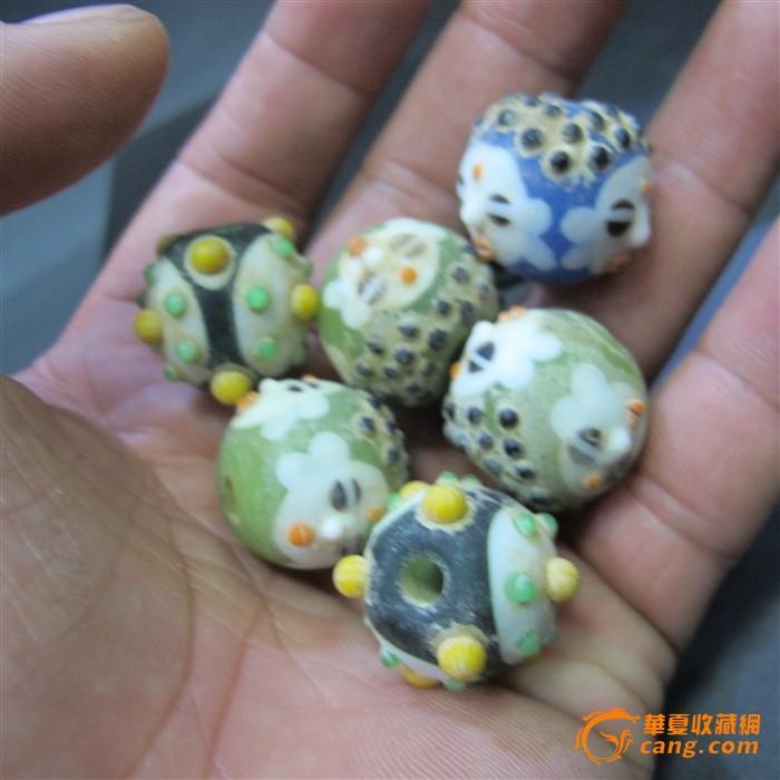 六颗老琉璃珠子