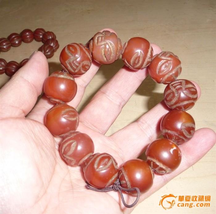 老红玛瑙手工雕刻寿星手链2