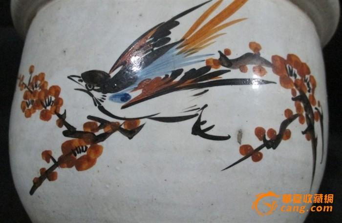 民国素三彩手绘花盆