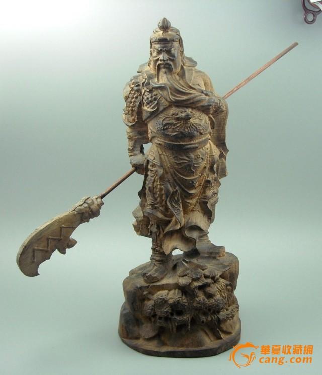 天然越南沉香木雕关公像 沉香摆件