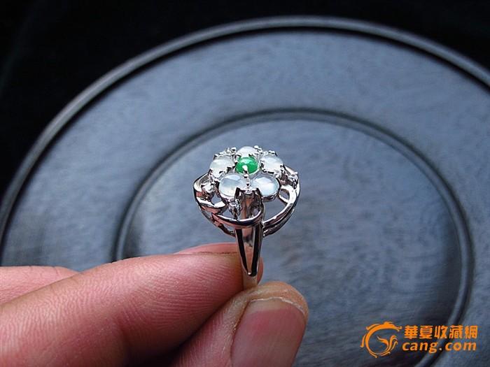 奢华A货925银镀白金镶嵌冰 绿翡翠戒指 配证书