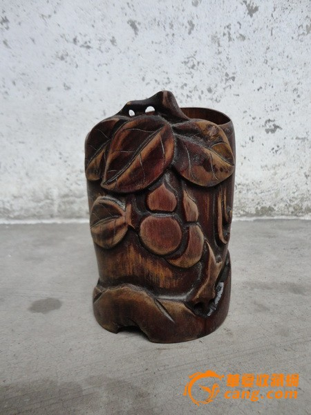 民国楠竹雕葫芦笔筒一个