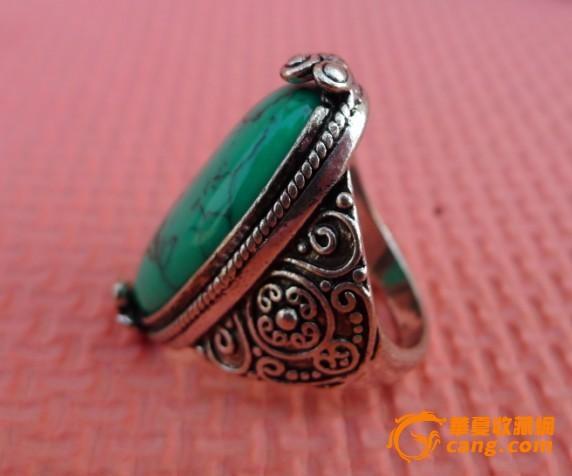 藏式包银绿松石戒指图片