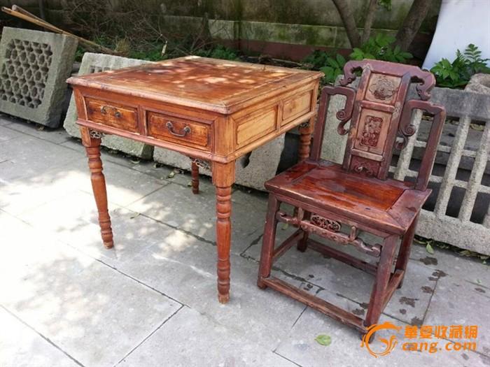 【江啸堂】藏品 古玩 清代人物雕花靠背老椅子1张
