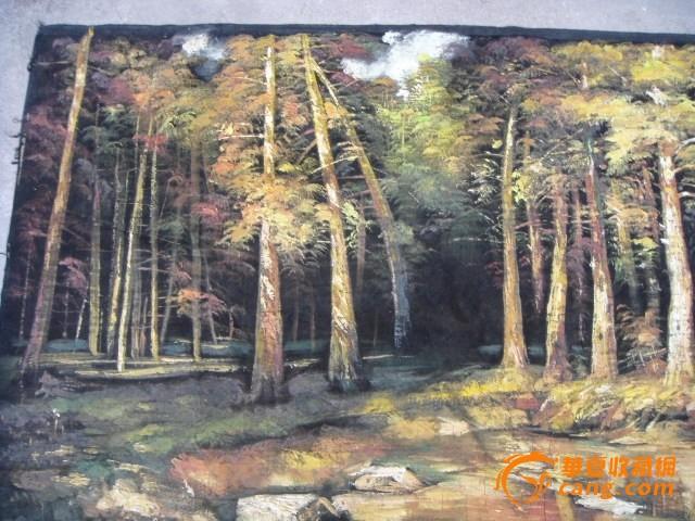 布艺树池塘风景油画