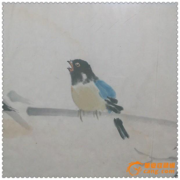 精美雅致的文革手绘竹鸟纹水彩画