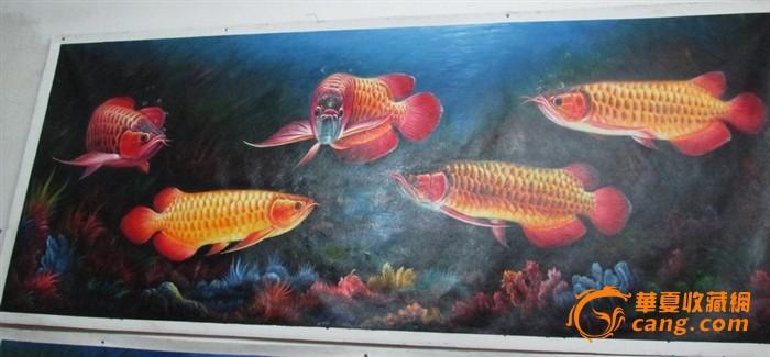 名家巨幅布面油彩手绘油画金龙鱼五龙至尊图片