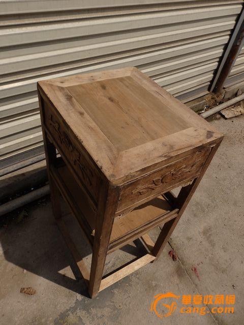 清代~金丝楠~浮雕花卉,茶几--楠木老家具