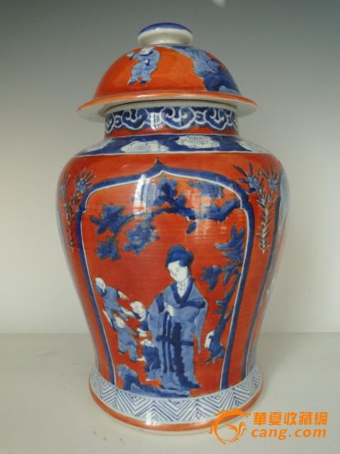 陶瓷器手绘摆件清代道光蓝釉瓷香炉 景德镇手绘花瓶清代王炳荣雕瓷