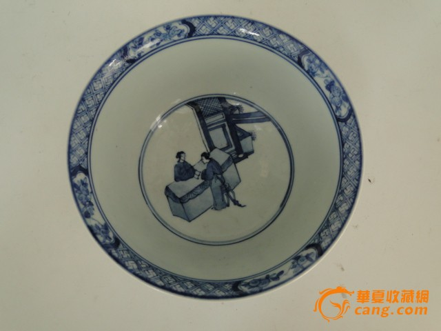 陶瓷器手绘明代青花人物瓷碗摆件