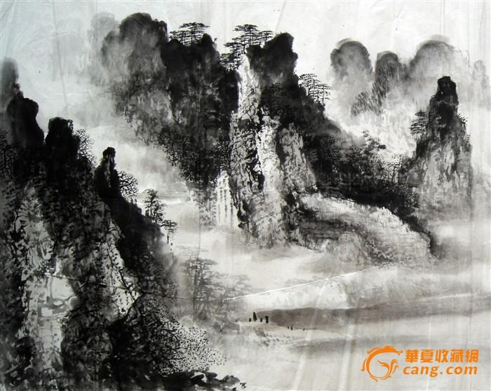 山水画 江南渔村图片
