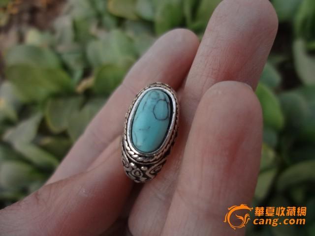 藏银绿松石戒指,保真保老图片