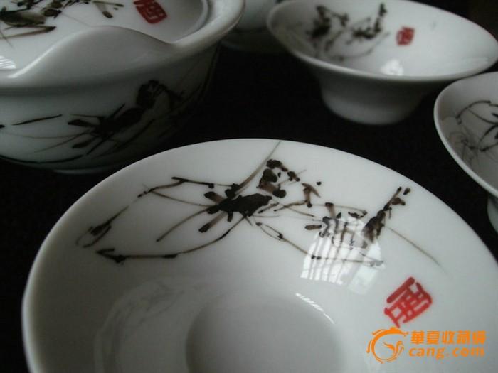 省工艺美术大师手绘釉下五彩对虾茶具八件套