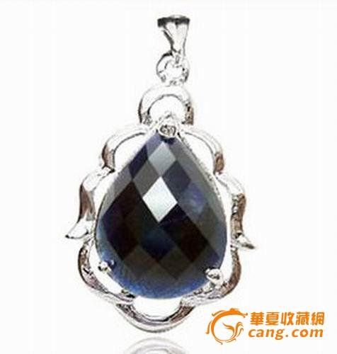 925银镀白金镶嵌天然水滴形格子面蓝宝石吊坠项坠带证书