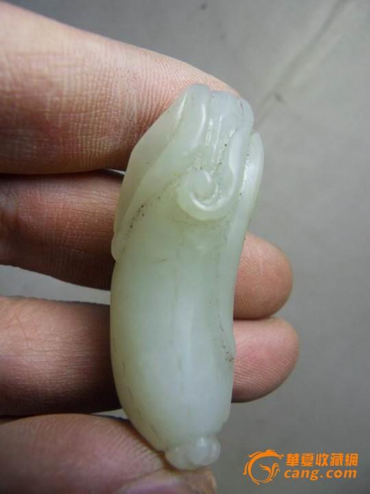 清代和田玉浮雕瓜果坠子