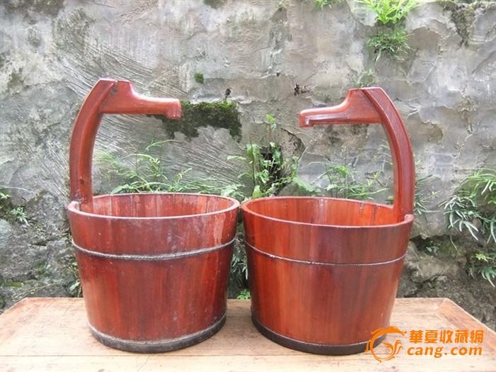 中式装修居家良品小号带柄水桶木桶两个