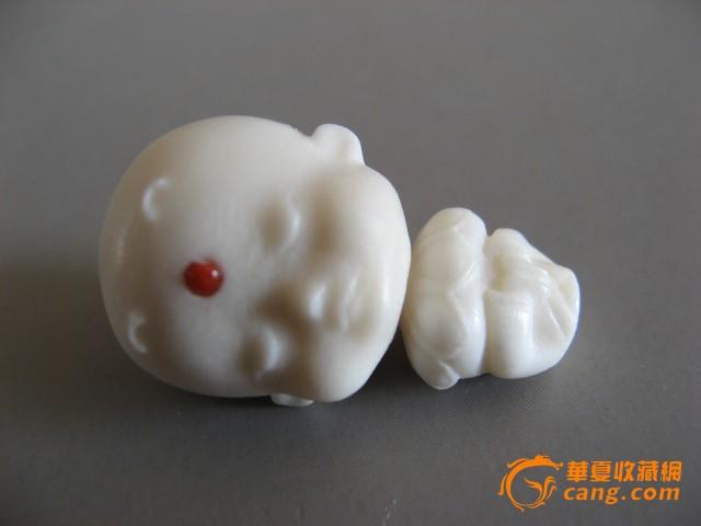 2h414天然鹿角盘雕刻可爱卡通小和尚三通佛头