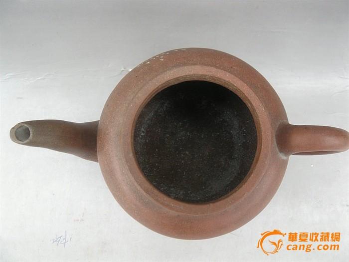 民国-宜兴紫砂陶器款-刻字刻山水壶