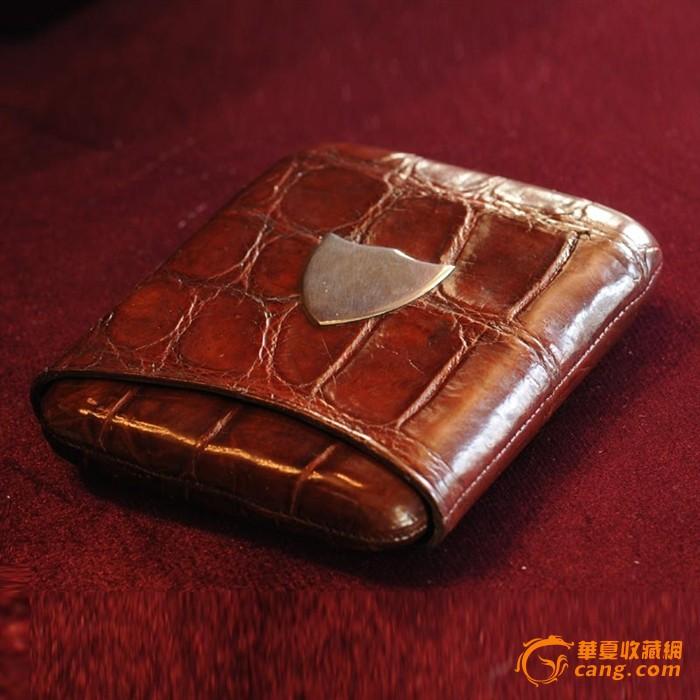 西洋古董收藏品银器英国鳄鱼皮霸气盾牌徽章随身烟盒雪茄盒烟具